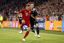 (l-r) Joshua Kimmich of FC Bayern Munchen, Nico Tagliafico of Ajax during the UEFA Champions League group E match between Bayern Munich and Ajax Amsterdam at the Allianz Arena on October 02, 2018 in Munich, Germany