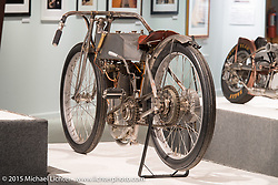 """Billy Lane's 1914 Perry Mack racer in Michael Lichter's annual Motorcycles as Art Show """"Naked Truth"""" at the Buffalo Chip during the 75th Annual Sturgis Black Hills Motorcycle Rally.  SD, USA.  August 6, 2015.  Photography ©2015 Michael Lichter."""