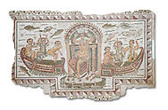 Late 4th century AD Roman mosaic panel of  Venus, Aphrodite, on a boat crowning herself accompanied by six dwarfs. From Cathage, Tunisia.  The Bardo Museum, Tunis, Tunisia. White background .<br /> <br /> If you prefer to buy from our ALAMY PHOTO LIBRARY  Collection visit : https://www.alamy.com/portfolio/paul-williams-funkystock/roman-mosaic.html - Type -   Bardo    - into the LOWER SEARCH WITHIN GALLERY box. Refine search by adding background colour, place, museum etc<br /> <br /> Visit our ROMAN MOSAIC PHOTO COLLECTIONS for more photos to download  as wall art prints https://funkystock.photoshelter.com/gallery-collection/Roman-Mosaics-Art-Pictures-Images/C0000LcfNel7FpLI