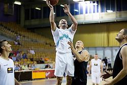Dejan Zavec with help of Boris Gorenc during football and basketball charity event All Legends by Olimpiki, on June 9, 2015 in Hala Tivoli, Ljubljana, Slovenia. Photo by Vid Ponikvar / Sportida