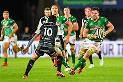 Sebastian Negri of Benetton Treviso in action during todays match<br /> <br /> <br /> Photographer Craig Thomas/Replay Images<br /> <br /> Guinness PRO14 Round 4 - Ospreys v Benetton Treviso - Saturday 22nd September 2018 - Liberty Stadium - Swansea<br /> <br /> World Copyright © Replay Images . All rights reserved. info@replayimages.co.uk - http://replayimages.co.uk