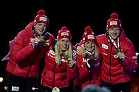Skiskyting<br /> IBU World Championship<br /> VM 2016 Oslo<br /> Mix-stafett<br /> Foto: Gepa/Digitalsport<br /> NORWAY ONLY<br /> <br /> OSLO,NORWAY,03.MAR.16 - BIATHLON - IBU World Championships, relay 2x6km ladies and 2x7.5km men, mixed team, award ceremony. Image shows Tarjei Bø, Tiril Eckhoff, Marte Olsbu and Johannes Thingnes Bø (NOR).