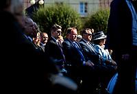Sokolka, woj. podlaskie, 21.09.2020. Uroczystosc odsloniecia Pomnika Ofiar Oblawy Augustowskiej z udzialem posla PiS Jaroslawa Zielinskiego, ktory objal to wydarzenie swoim patronatem honorowym. Jest to 3 identyczny pomnik, wczesniej takie same zostaly odsloniete w Suwalkach i Augustowie N/z (P-L) Jaroslaw Zielinski posel PiS oraz Mieczyslaw Baszko podlaski posel Porozumienia fot Michal Kosc / AGENCJA WSCHOD