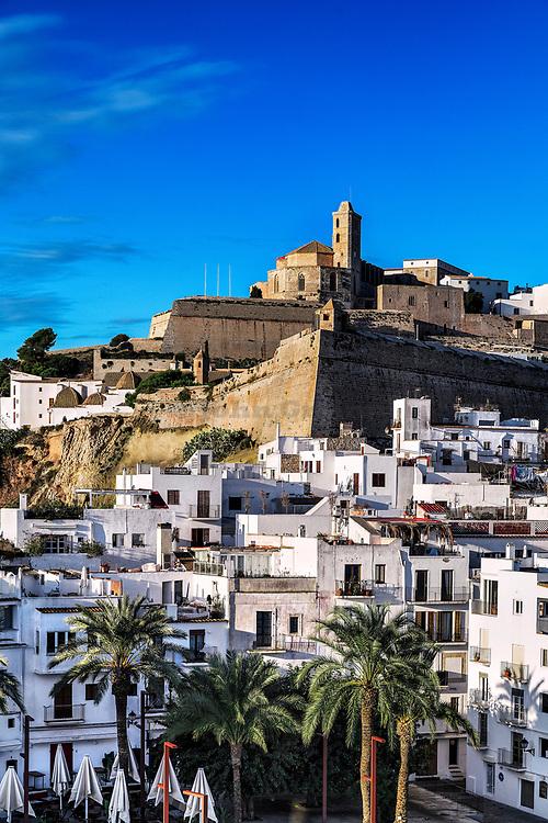 Ibiza Town and the cathedral of Santa Maria d'Eivissa, Ibiza, Balearic Islands, Spain.