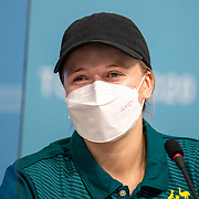 TOKYO, JAPAN - JULY 20: Australian skateboard competitor Hayley Wilson speaks to the media during a Press Conference in the Main Press Centre ahead of the Tokyo 2020 Olympic Games on July 20, 2021 in Tokyo, Japan. (Photo by Tim Clayton/Corbis via Getty Images)