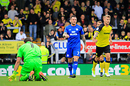 Cardiff City striker Lee Tomlin (7) shoots wide during the EFL Sky Bet Championship match between Burton Albion and Cardiff City at the Pirelli Stadium, Burton upon Trent, England on 5 August 2017. Photo by Richard Holmes.