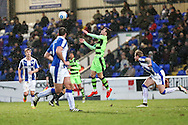 Forest Green Rovers Christian Doidge(9) controls the ball during the FA Trophy 2nd round match between Chester FC and Forest Green Rovers at the Deva Stadium, Chester, United Kingdom on 14 January 2017. Photo by Shane Healey.