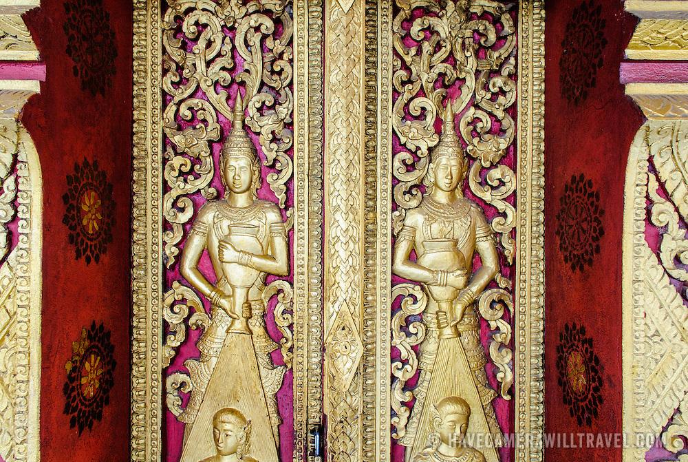 Intricate deocrations at Wat Phonxay Sanasongkham in Luang Prabang, Laos.