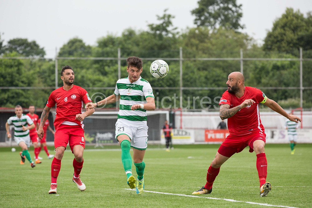 Riccardo Ravasi for Padania on the attack. Northern Cyprus 3 v Padania 2 during the Conifa Paddy Power World Football Cup semi finals on the 7th June 2018 at Carshalton Athletic Football Club in the United Kingdom. The CONIFA World Football Cup is an international football tournament organised by CONIFA, an umbrella association for states, minorities, stateless peoples and regions unaffiliated with FIFA.