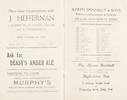 """Munster Minor and Senior Hurling Championship Final, held at Croke Park, Dublin, Ireland.<br /> .25.07.1937, 07.25.1937, 25th July 1937,.25071937MSMHCF,..J Jeffernan 4 Robert St 69 Grand Parade and 43 Shandon St, """"place your commisions"""",..Deasy's amber ale,..Murphy's Ballintemple and Marina Hotel Victoria road,..Joseph Donnelly and sons Bakers Confectioners and Grocers, 102 and 103 Shandon St Cork,..The MIsses Hartnett High Class Bar, 7 Coburg Street Cork,."""