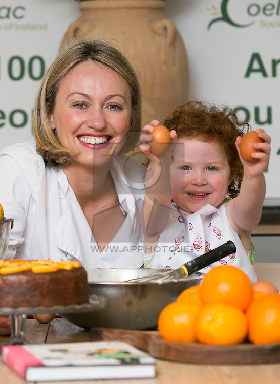 Repro Free: Blackrock Dublin: <br /> Serena Conway (3) is pictured helping well known chef Clodagh McKenna in lending her support to Coeliac Awareness Week, a public awareness campaign taking place from 12 to 19 May to promote better awareness and understanding of coeliac disease and those affected by it. <br /> Coeliac Awareness Week, which is being run by the Coeliac Society of Ireland, will focus heavily on diagnosis of the disease, particularly in children.<br /> Coeliac disease affects 1 in every 100 people in Ireland and it is estimated that around 45,000 Irish people could be coeliac, many of which are, as yet, undiagnosed. The disease causes some adults and children to react to a protein called gluten, which is found in wheat, barley and rye. <br /> As part of Coeliac Awareness Week, Clodagh will be hosting a Gluten-Free cooking master-class at her restaurant 'Clodagh's Kitchen' in Arnotts where she will be preparing her favourite coeliac friendly dishes as well as offering advice on how to cook tasty meals for family members, friends or children who are coeliac. Picture Andres Poveda<br /> Full details of all events taking place during Coeliac Awareness Week, as well as any information you may need in relation to gluten free living, including recipes and tips, can be found at www.coeliac.ie. Picture Andres Poveda<br /> <br /> <br /> For further information or to arrange an interview, please contact:<br /> Breda Brown / Niall McHugh<br /> Unique Media<br /> Tel: (01) 522 5200 or (087) 2487120<br /> Email:  bredabrown@uniquemedia.ie/ niallmchugh@uniquemedia.ie