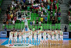 Team Slovenia during basketball match between National teams of Slovenia and France in Quarterfinal Match of U20 Men European Championship Slovenia 2012, on July 20, 2012 in SRC Stozice, Ljubljana, Slovenia. (Photo by Urban Urbanc / Sportida.com)
