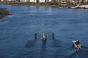 Putney. London,  Great Britain.<br /> Oxford, Blue Boat. move away from Hammersmith Bridge. 2016 Tideway Week, Putney. Putney Embankment, Championship Course. River Thames.<br /> <br /> Friday  25/03/2016 <br /> <br /> [Mandatory Credit; Karon PHILLIPS/Intersport-images]<br /> 2016 Tideway Week, Putney. Putney Embankment, Championship Course. River Thames.<br /> <br /> Friday  25/03/2016 <br /> <br /> [Mandatory Credit; Karon PHILLIPS/Intersport-images]