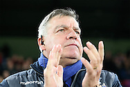 Sam Allardyce, the Crystal Palace manager respects a minutes applause before k/o in respect to the recent death of former England manager Graham Taylor.  Emirates FA Cup 3rd round replay match, Crystal Palace v Bolton Wanderers at Selhurst Park in London on Tuesday 17th January 2017.<br /> pic by John Patrick Fletcher, Andrew Orchard sports photography.