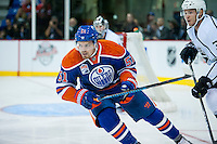 KELOWNA, CANADA - OCTOBER 2: Anton Lander #51 of the Edmonton Oilers skates against the Los Angeles Kings on October 2, 2016 at Kal Tire Place in Vernon, British Columbia, Canada.  (Photo by Marissa Baecker/Shoot the Breeze)  *** Local Caption *** Anton Lander;