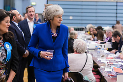 Maidenhead, UK. 13 December, 2019. Former Conservative Prime Minister Theresa May arrives at the count for the general election for the Maidenhead constituency.