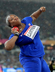 USA's Michelle Carter in action in the Women's Shot Put during day six of the 2017 IAAF World Championships at the London Stadium. PRESS ASSOCIATION Photo. Picture date: Wednesday August 9, 2017. See PA story ATHLETICS World. Photo credit should read: Adam Davy/PA Wire. RESTRICTIONS: Editorial use only. No transmission of sound or moving images and no video simulation