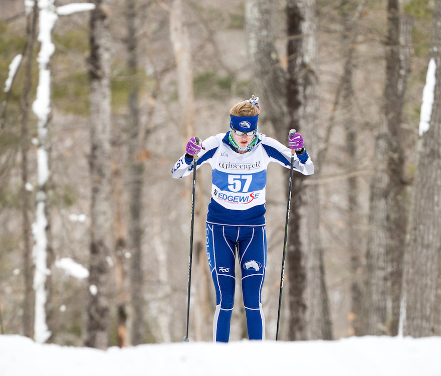 Vivian Hawkinson of Colby College during the Colby College Winter Carnival 15 Kilometer Classic Mass Start at Quarry Road on January 23, 2016 in Waterville, ME. (Dustin Satloff)