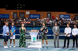 Aljaz Bedene of Slovenia celebrates at trophy ceremony after winning in Final match at Day 10 of ATP Challenger Zavarovalnica Sava Slovenia Open 2019, on August 18, 2019 in Sports centre, Portoroz/Portorose, Slovenia. Photo by Vid Ponikvar / Sportida