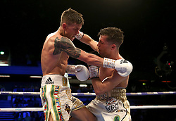 Charlie Edwards (left) in action against Angel Moreno in their World Boxing Council World Flyweight Title bout at the Copper Box Arena, London.