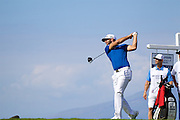 January 08 2016:  Dustin Johnson tees off on number five during the Second Round of the Hyundai Tournament of Champions at Kapalua Plantation Course on Maui, HI. (Photo by Aric Becker)