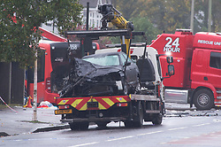 ©Licensed to London News Pictures 01/11/2019.<br /> Orpington,UK. A car on a recovery truck. One person is dead and 15 others have been injured in a crash between two buses and a car last night in Orpington, South East London. A man has been arrested for dangerous driving. Police are still on scene and a cordon is in place. Photo credit: Grant Falvey/LNP