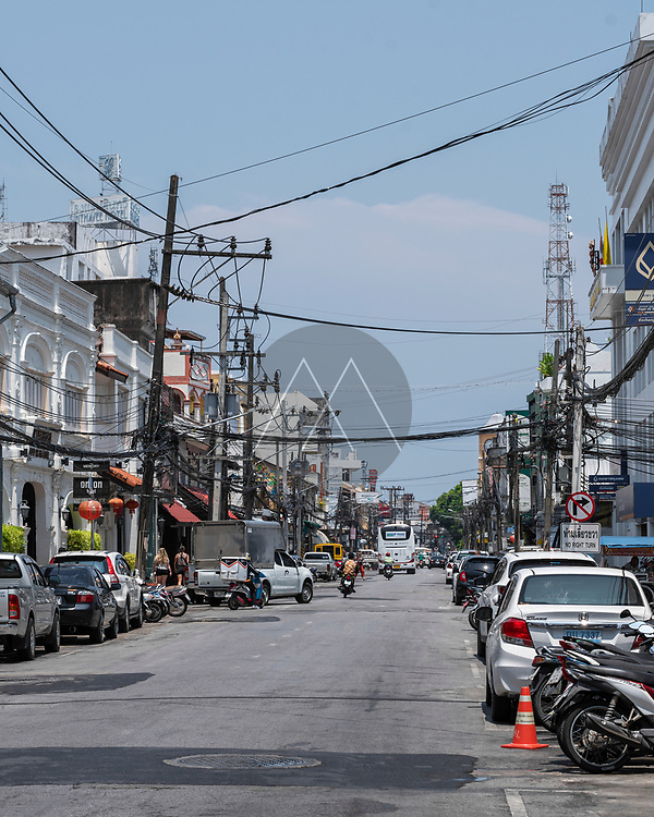 Phuket, Thailand - 30 March 2019: View of Phuket downtown in Thailand.