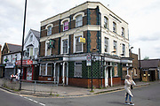 The derelict Lord Palmerston public house on the corner of Staines Road and Hibernia Road is pictured on 11th June 2021 in Hounslow, United Kingdom. The pubs licence was revoked in 2008 following several incidences of violence and antisocial behaviour.
