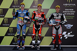 June 16, 2018 - Barcelona, Catalonia, Spain - Alex Marquez (73) of Spain and Eg 0,0 Marc VDS Kalex , Fabio Quartararo (20) of France and Mb Conveyors - Speed Up Racing Speed Up and Marcel Schrotter (23) of Germany and Dynavolt Intact GP Kalex during the qualifying of the Gran Premi Monster Energy de Catalunya, Circuit of Catalunya, Montmelo, Spain.On 16 june of 2018. (Credit Image: © Jose Breton/NurPhoto via ZUMA Press)