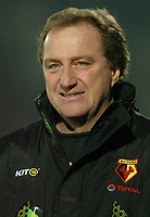 Picture: Henry Browne.Digitalsport<br /> Date: 30/11/2004.<br /> Watford v Portsmouth Carling Cup Quarter Final.<br /> Watford's manager Ray Lewington in tears after his team beat Portsmouth 3-0.