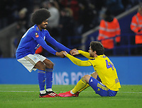 Football - 2019 / 2020 Emirates FA Cup - Fifth Round: Leicester City vs. Birmingham City<br /> <br /> Hamza Choudhury of Leicester consoles Scott Hogan after the match, as he helps him to his feet at the King Power Stadium.<br /> <br /> COLORSPORT/ANDREW COWIE