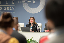 12 December 2019, Madrid, Spain: Sabine Minninger from Bread for the World (Germany), speaks at a side-event on Breaking new ground: Advancing loss and damage governance and finance mechanisms, at COP25.