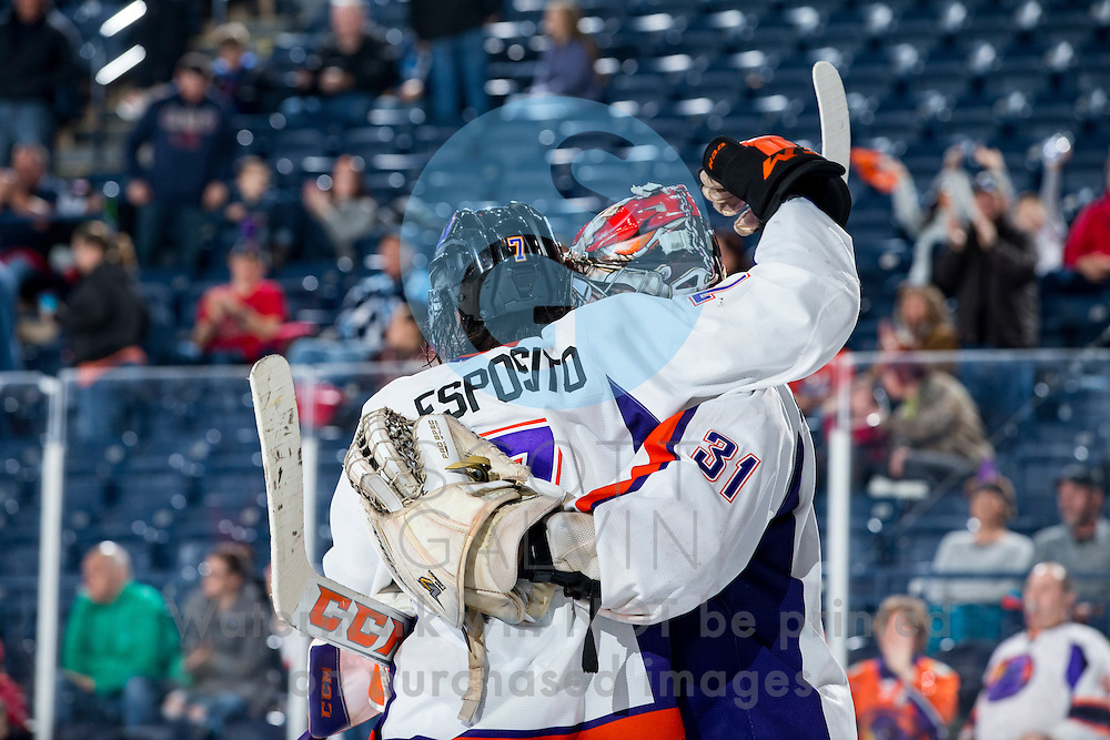 Youngstown Phantoms defeat USA NTDP 3-1 at the Covelli Centre on December 31, 2016.<br /> <br /> Eric Esposito, forward, 7; Ivan Kulbakov, goalie, 31