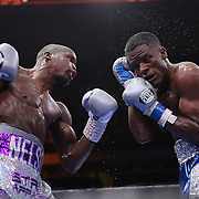 Willie Nelson (L) and Tony Harrison fight during their Premier Boxing Champions boxing match on ESPN at the USF Sun Dome, on Saturday, July 11, 2015 in Tampa, Florida.  Nelson won the match by TKO. (AP Photo/Alex Menendez)