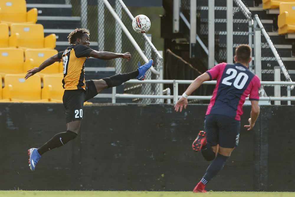 Victor Mansaray (20). <br /> Lamar Hunt US Open Cup: Tormenta FC vs. Charleston Battery in the second round at MUSC Health Stadium in Charleston, S.C. on Wednesday, May 16, 2018.<br /> Zach Bland/Charleston Battery