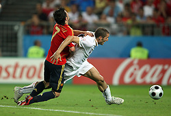 David Villa of Spain vs Giorgio Chiellini of Italy during the UEFA EURO 2008 Quarter-Final soccer match between Spain and Italy at Ernst-Happel Stadium, on June 22,2008, in Wien, Austria.  (Photo by Vid Ponikvar / Sportal Images)