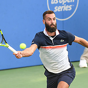 BENOIT PAIRE hits a forehand at the Rock Creek Tennis Center.