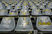 The individually stickers on seats at the Signal Iduna Park stadium ahead of the Champions League round of 16, leg 2 of 2 match between Borussia Dortmund and Tottenham Hotspur at Signal Iduna Park, Dortmund, Germany on 5 March 2019.