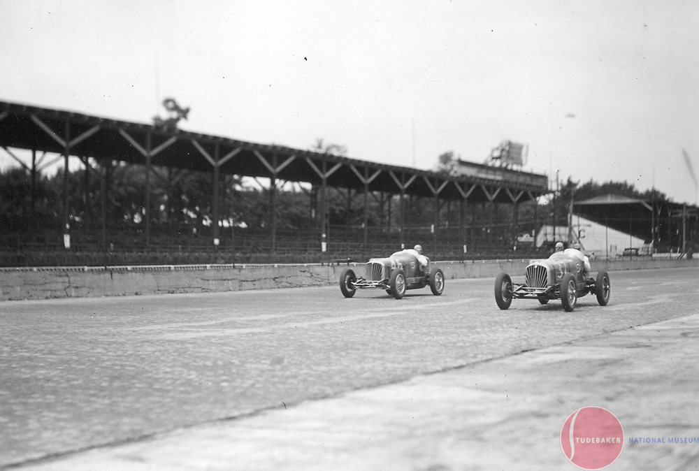 Studebaker Indianapolis 500 race cars #37 and #46 practice prior to the 1932 Indianapolis 500.