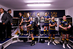 Worcester Warriors celebrate beating Gloucester Rugby and securing Premiership Rugby status - Mandatory by-line: Robbie Stephenson/JMP - 28/04/2019 - RUGBY - Sixways Stadium - Worcester, England - Worcester Warriors v Gloucester Rugby - Gallagher Premiership Rugby