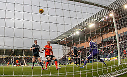 Falkirk's keeper Harry Burgoyne lets a Dundee United shot pass through his hands. . Falkirk 1 v 1 Dundee United, Scottish Championship game played 23/2/2019 at The Falkirk Stadium.