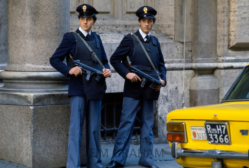 Armed police security in Rome, Italy