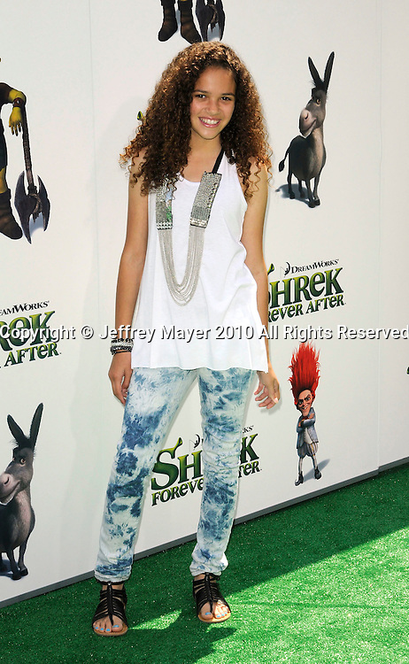 """UNIVERSAL CITY, CA. - May 16: Madison Pettis arrives at the """"Shrek Forever After"""" Los Angeles Premiere at Gibson Amphitheatre on May 16, 2010 in Universal City, California."""