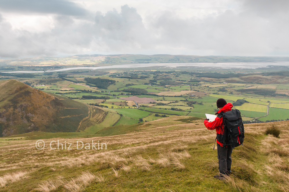 Looking down into the valley of the Whitecombe Beck with Duddon Sands in the background