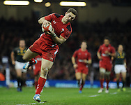 George North of Wales in action. Autumn International rugby, 2013 Dove men series, Wales v South Africa at the Millennium Stadium in Cardiff,  South Wales on Saturday 9th November 2013. pic by Andrew Orchard, Andrew Orchard sports photography,