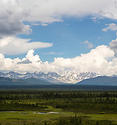 View of the Alaska Range, Nenana Mountain and the Nenana Glacier Valley, and Monahan Flat in the foreground.