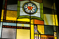 "Stained glass depicting the congregation's solid stance on the Lutheran confessions summarized with ""Scripture Alone, Grace Alone, and Faith Alone,"" on Sunday, Aug. 2, 2020, at Elm Grove Lutheran Church, Elm Grove, Wis. LCMS Communications/Erik M. Lunsford"