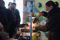 Frites served to the VIPs atop the Vamberg  - Drentse 8, a 140km road race starting and finishing in Dwingeloo, on March 13, 2016 in Drenthe, Netherlands.