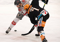 03.01.2021, Keine Sorgen Eisarena, Linz, AUT, ICE, Black Wings 1992 vs iClinic Bratislava Capitals, im Bild v.l. Milos Bubela (iClinic Bratislava Capitals), Brian Lebler (Steinbach Black Wings 1992) // during the bet-at-home ICE Hockey League match between Black Wings 1992 and iClinic Bratislava Capitals at the Keine Sorgen Eisarena in Linz, Austria on 2021/01/03. EXPA Pictures © 2020, PhotoCredit: EXPA/ Reinhard Eisenbauer