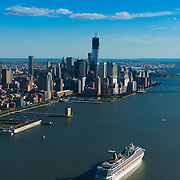 Cruise Ship In Hudson With Manhattan Skyline, New York